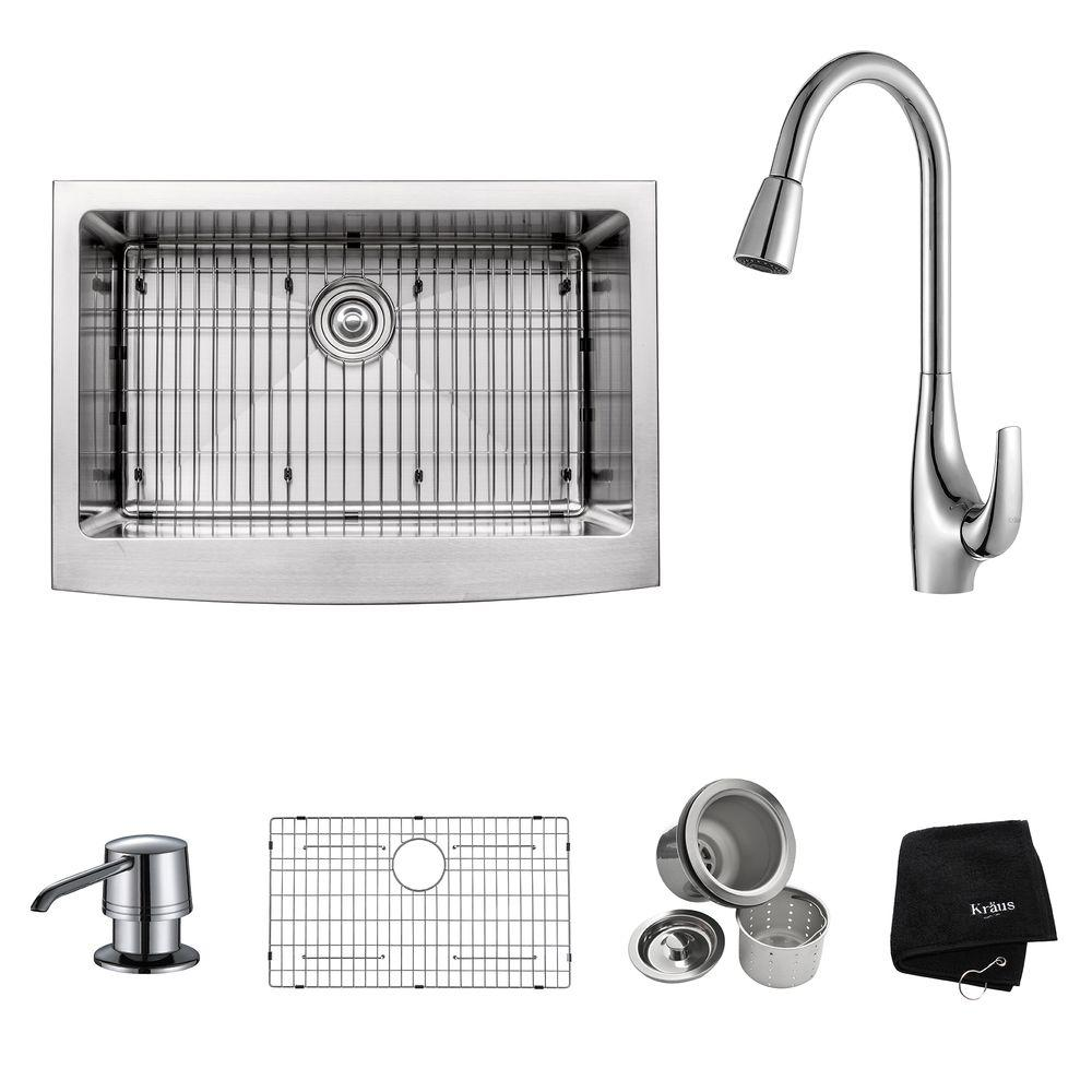 KRAUS All-in-One Farmhouse Apron Front Stainless Steel 30 in. Single Bowl Kitchen Sink with Faucet and Accessories in Chrome