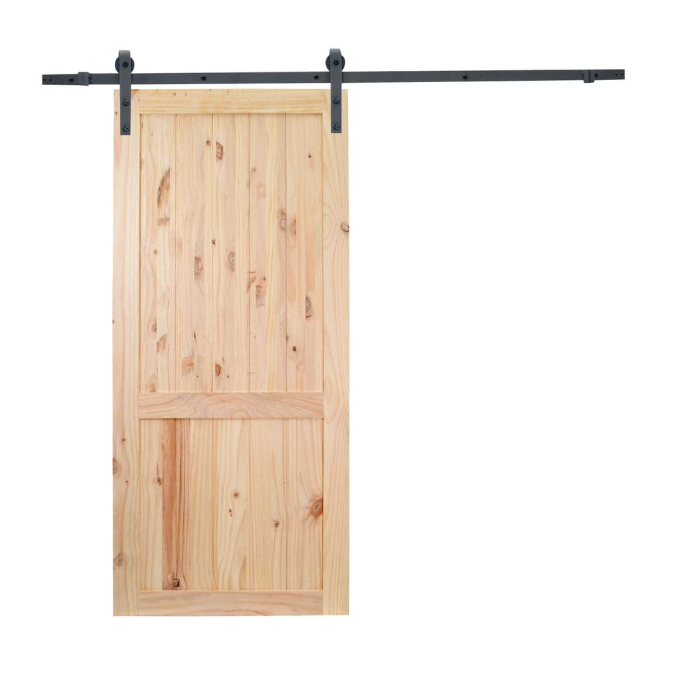 36 in. x 84 in. 2-Panel Unfinished Natural Wood Sliding Barn