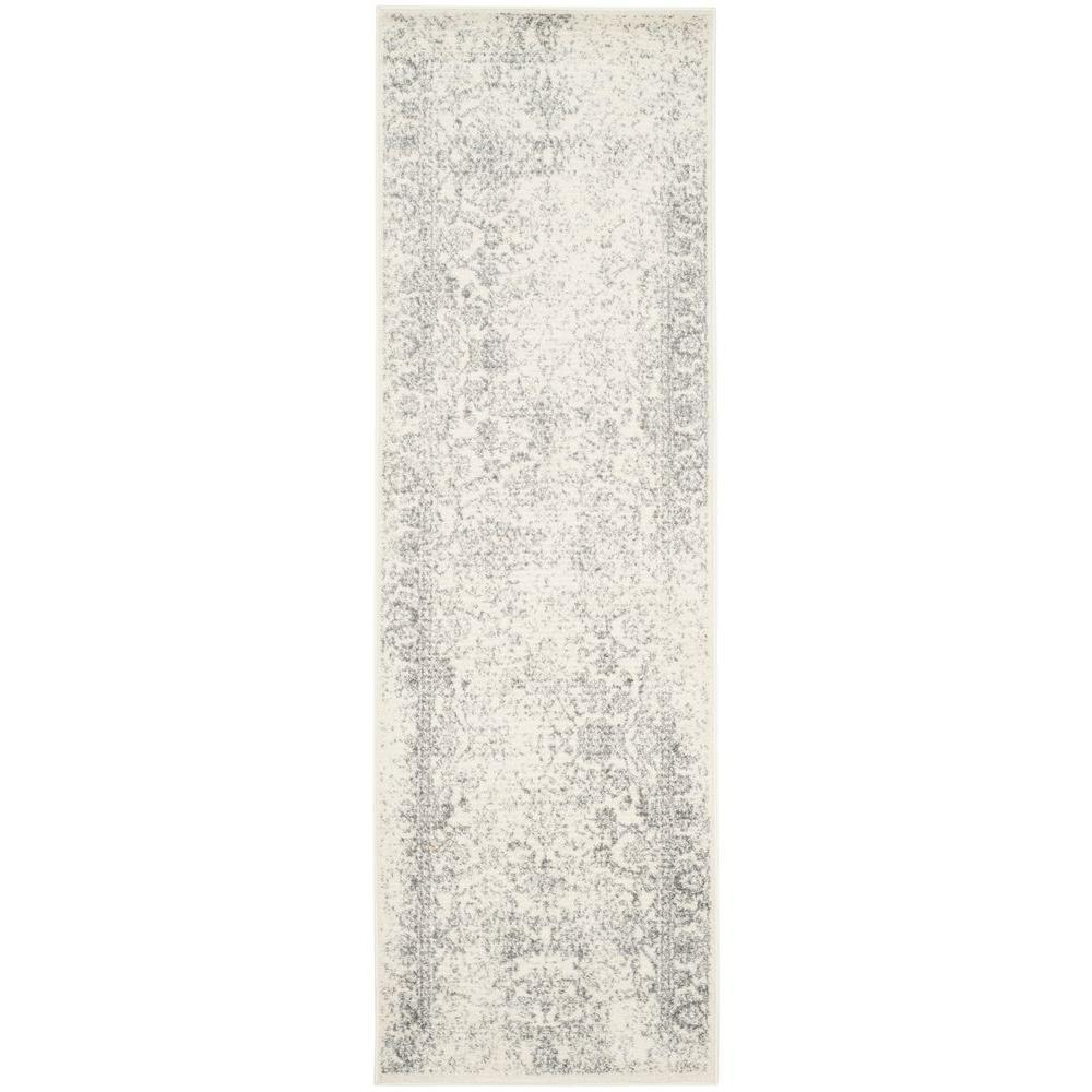 Adirondack Ivory/Silver 3 ft. x 22 ft. Runner Rug