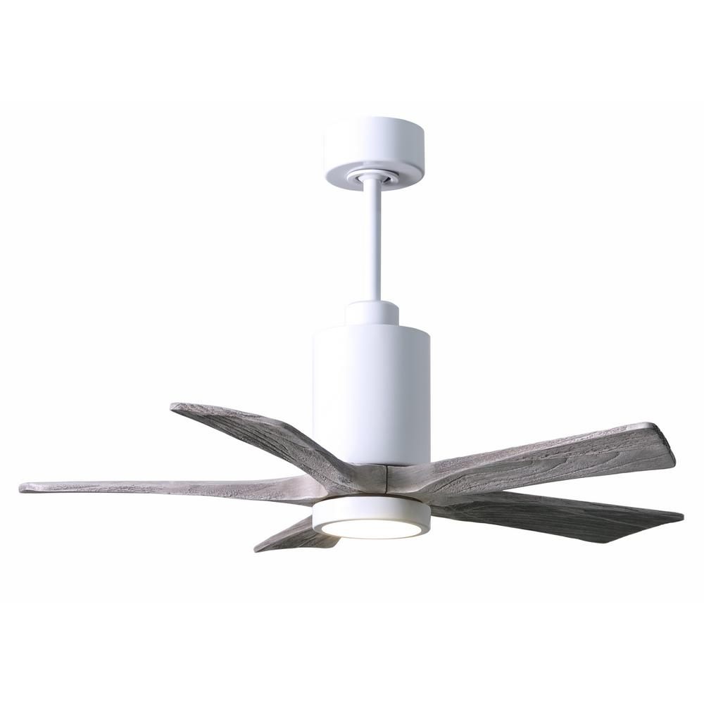 Led Indoor Outdoor Damp Gloss White Ceiling Fan With Remote Control And Wall