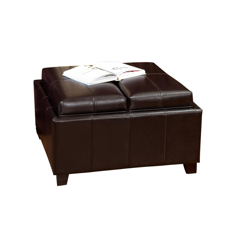 Le House Mansfield Espresso Bonded Leather Tray Top Storage Ottoman
