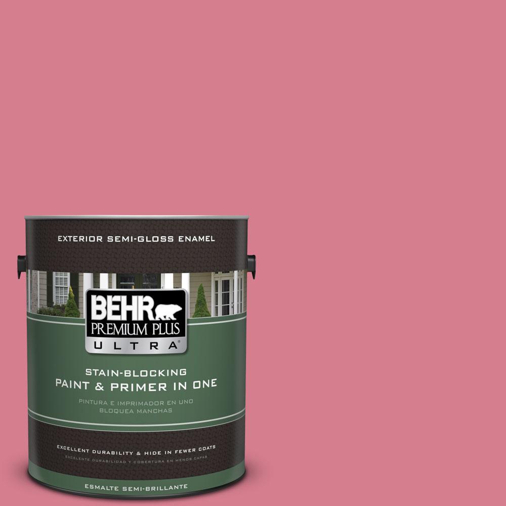 BEHR Premium Plus Ultra 1-gal. #P140-4 I Pink I Can Semi-Gloss Enamel Exterior Paint