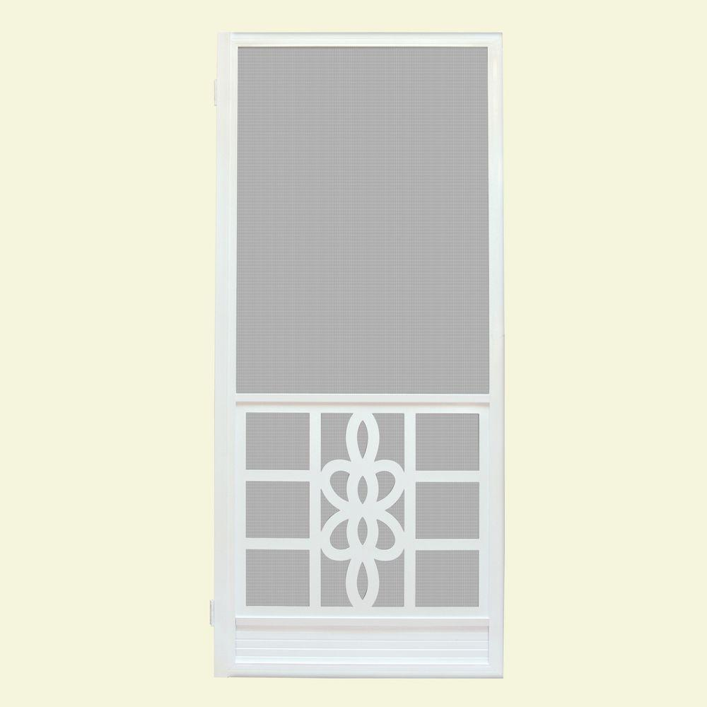 Unique Home Designs 36 In. X 80 In. Biscayne White Outswing Metal Hinged  Screen