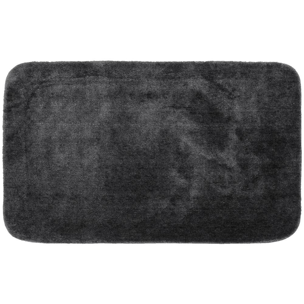 Traditional Dark Gray 30 in. x 50 in. Plush Nylon Bath Mat