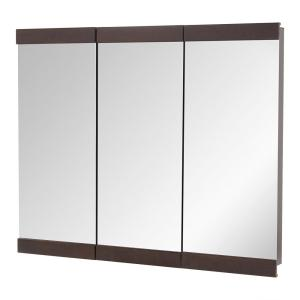 Home Decorators Collection 36 In. W X 29 In. H Fog Free Framed  Surface Mount Tri View Bathroom Medicine Cabinet In Java 45439   The Home  Depot