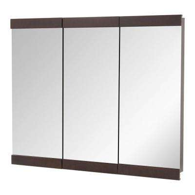 36 in. W x 29 in. H Fog Free Framed Surface-Mount Tri-View Bathroom Medicine Cabinet in Java