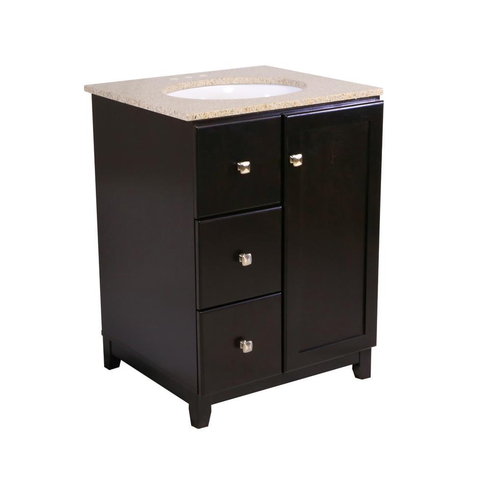 24 in. x 21 in. x 33 in. Shorewood 1-Door 2-Drawer Vanity Cabinet with Golden Sand Granite Vanity Top with White Basin