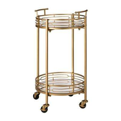 27 in. H Deluxe Metal Round Mirrored Bar Cart