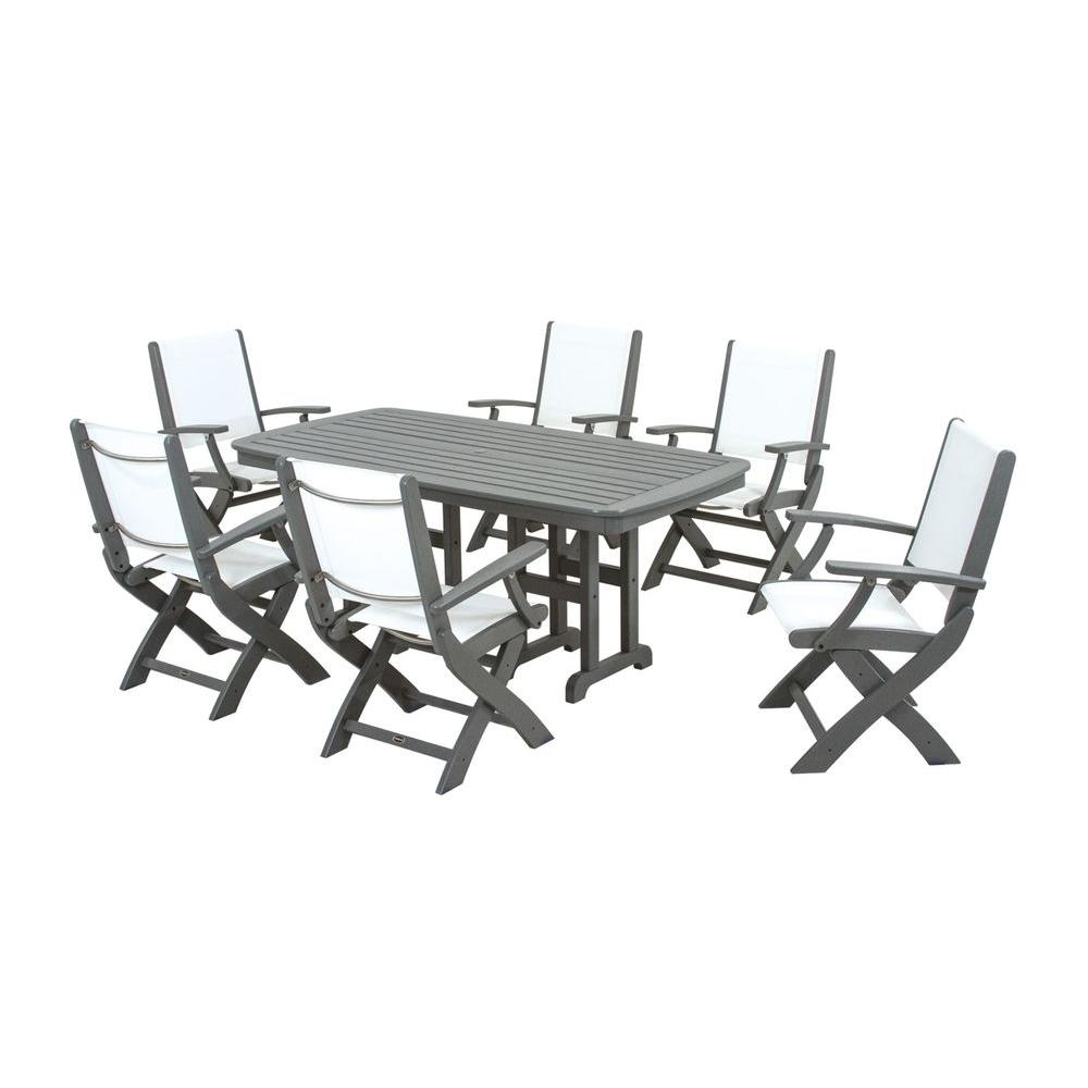 Fabulous Polywood Coastal Slate Grey All Weather Plastic Outdoor Dining Set In White Slings Dailytribune Chair Design For Home Dailytribuneorg