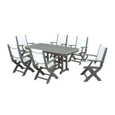 Coastal Slate Grey All-Weather Plastic Outdoor Dining Set in White Slings