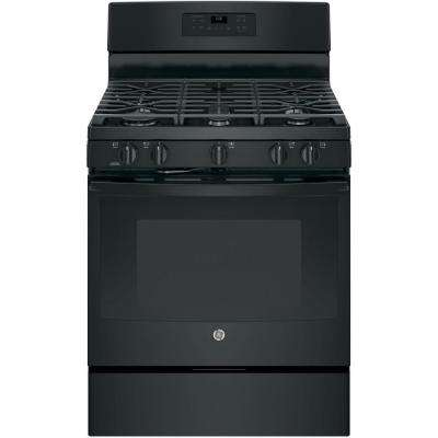30 in. 5.0 cu. ft. Gas Range with Self-Cleaning Oven in Black