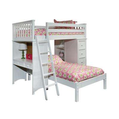 Mission White Twin SSS Loft Bed with Lower Platform Twin Bed