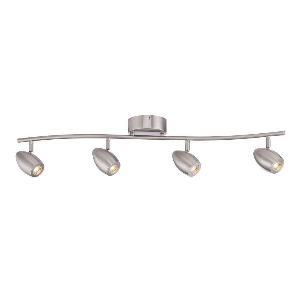 Brushed Nickel Led Track Lighting Kit With 4 Lights