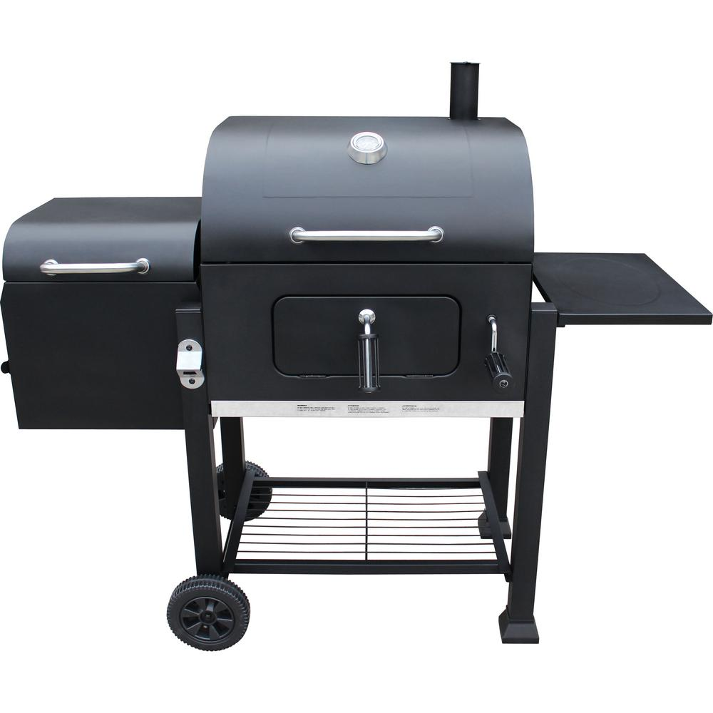 LANDMANN Vista Charcoal Grill with Offset Smoker in Black