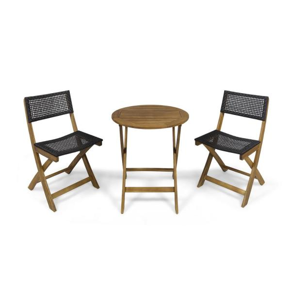 Noble House Hillside Teak Brown 3 Piece Wood And Wicker Round Outdoor Bistro Set 65533 The Home Depot