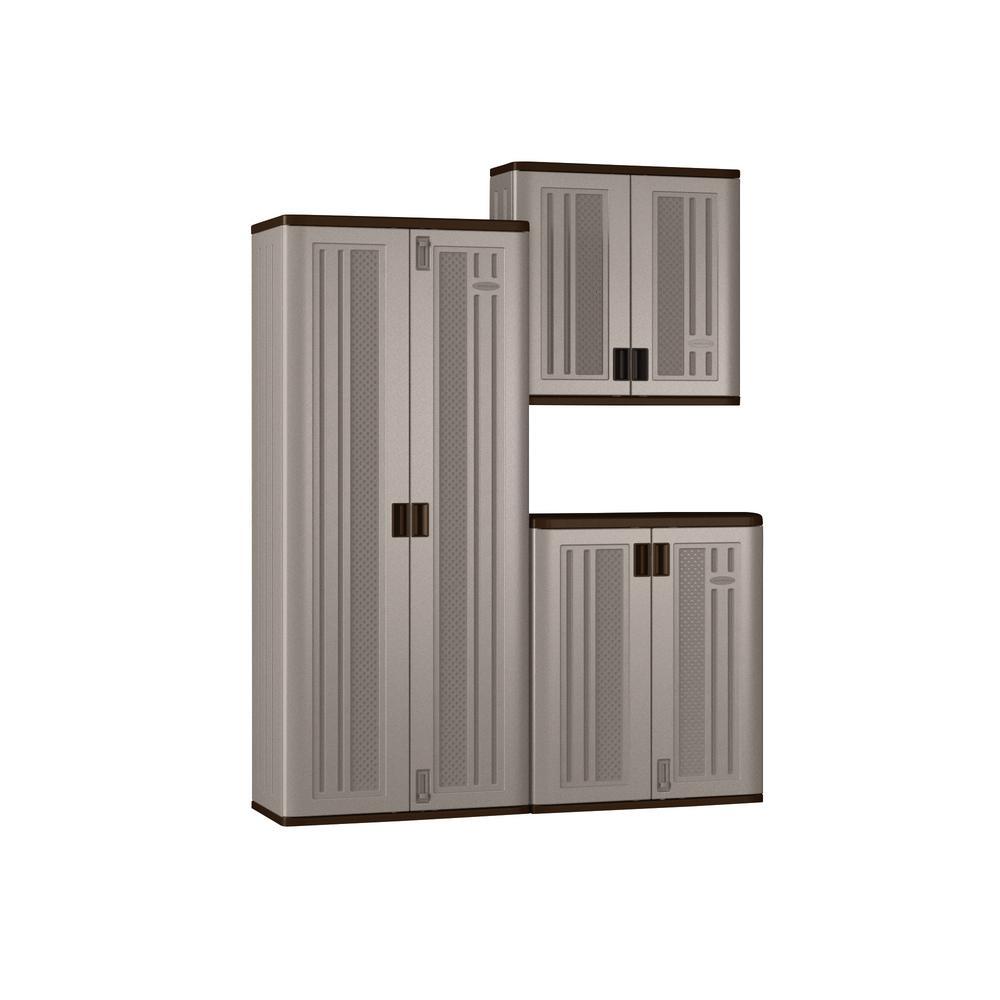 72 in. x 90 in. x 20.25 in. Resin Garage Cabinet Set in Platinum (3-Piece)