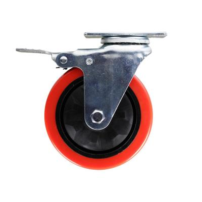 5 in. Red TPU Heavy-Duty Swivel Plate Caster with Brake, 330 lbs. Weight Capacity