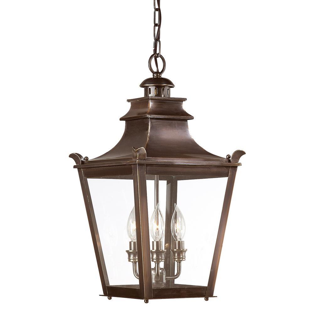 Dorchester 3-Light English Bronze Outdoor Pendant