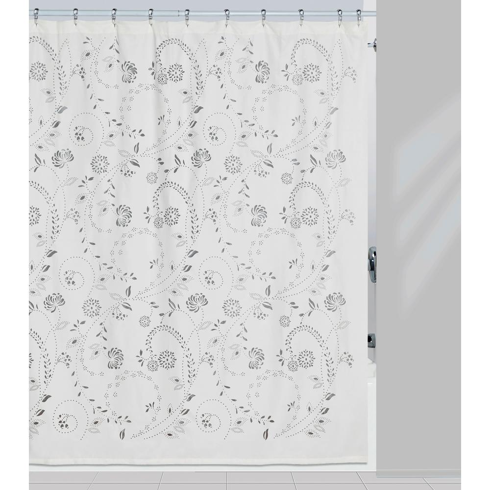 Gray White Shower Curtain And Matching Bath Rug Set