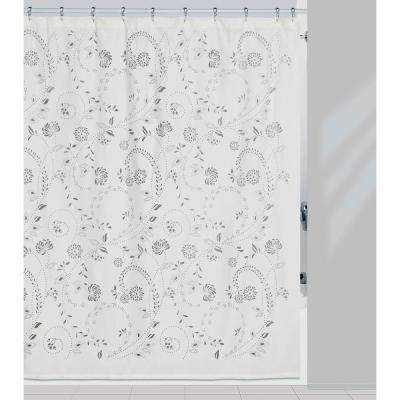 Eyelet 72 in. x 72 in. Gray/White Shower Curtain and Matching Bath Rug Set