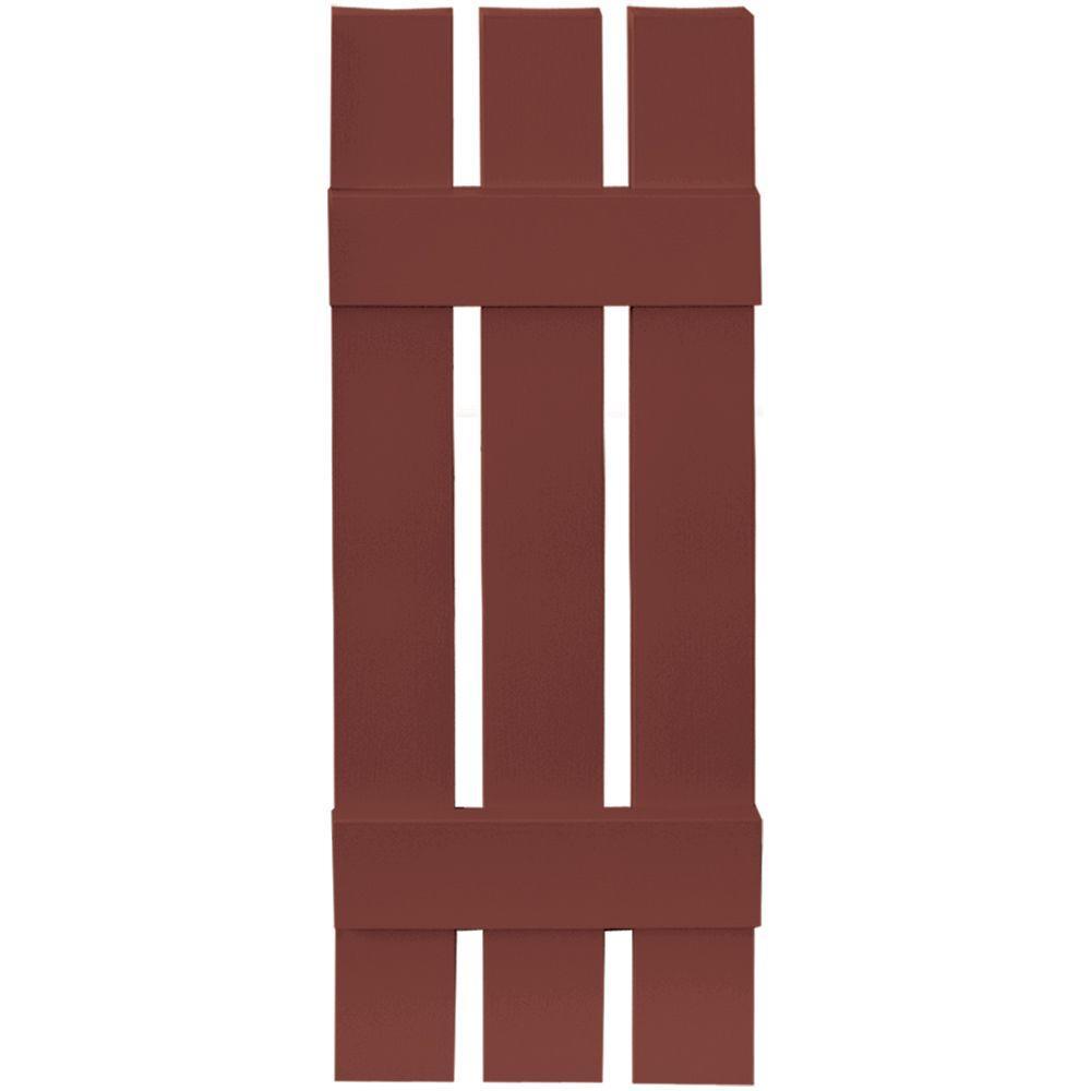12 in. x 35 in. Board-N-Batten Shutters Pair, 3 Boards Spaced #027 Burgundy Red