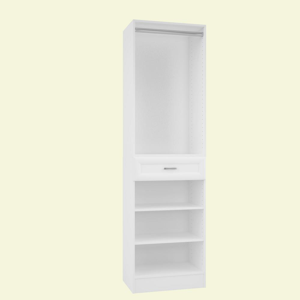 Home Decorators Collection 15 in. D x 24 in. W x 84 in. H Rialto Bianco Melamine with 3-Shelves, Drawer and Hanging Rod Closet System Kit