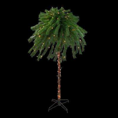 6 ft. Pre-Lit Clear Lights Tropical Outdoor Patio Artificial Palm Tree