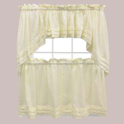 Semi-Opaque Holden 24 in. L Polyester Tier Curtain in Natural (2-Pack)