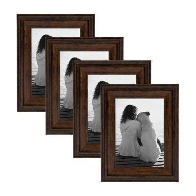Martinez 5 in. x 7 in. Matted to 3.5 in. x 5 in. Bronze Picture Frame (Set of 4)