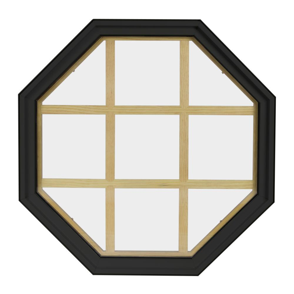 24 in. x 24 in. Octagon Bronze 6-9/16 in. Jamb 9-Lite
