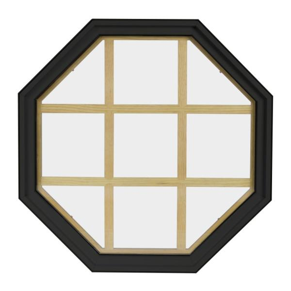 36 in. x 36 in. Octagon Bronze 4-9/16 in. Jamb 9-Lite Grille Geometric Aluminum Clad Wood Window