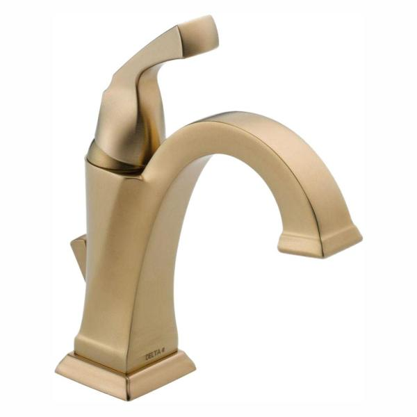 Dryden Single Hole Single-Handle Bathroom Faucet with Metal Drain Assembly in Champagne Bronze
