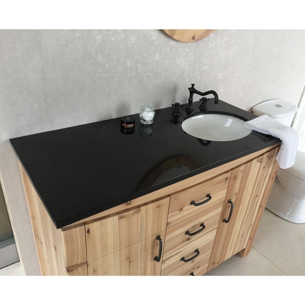 Vista 48 in. W x 22 in. D x 36 in. H Single Vanity in Natural with Granite Vanity Top in Black with White Right Basin