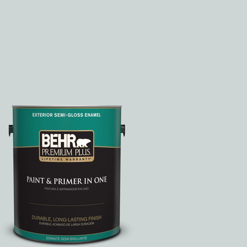 BEHR Premium Plus 1-gal. #ECC-34-1 Pacific Mist Semi-Gloss Enamel Exterior Paint