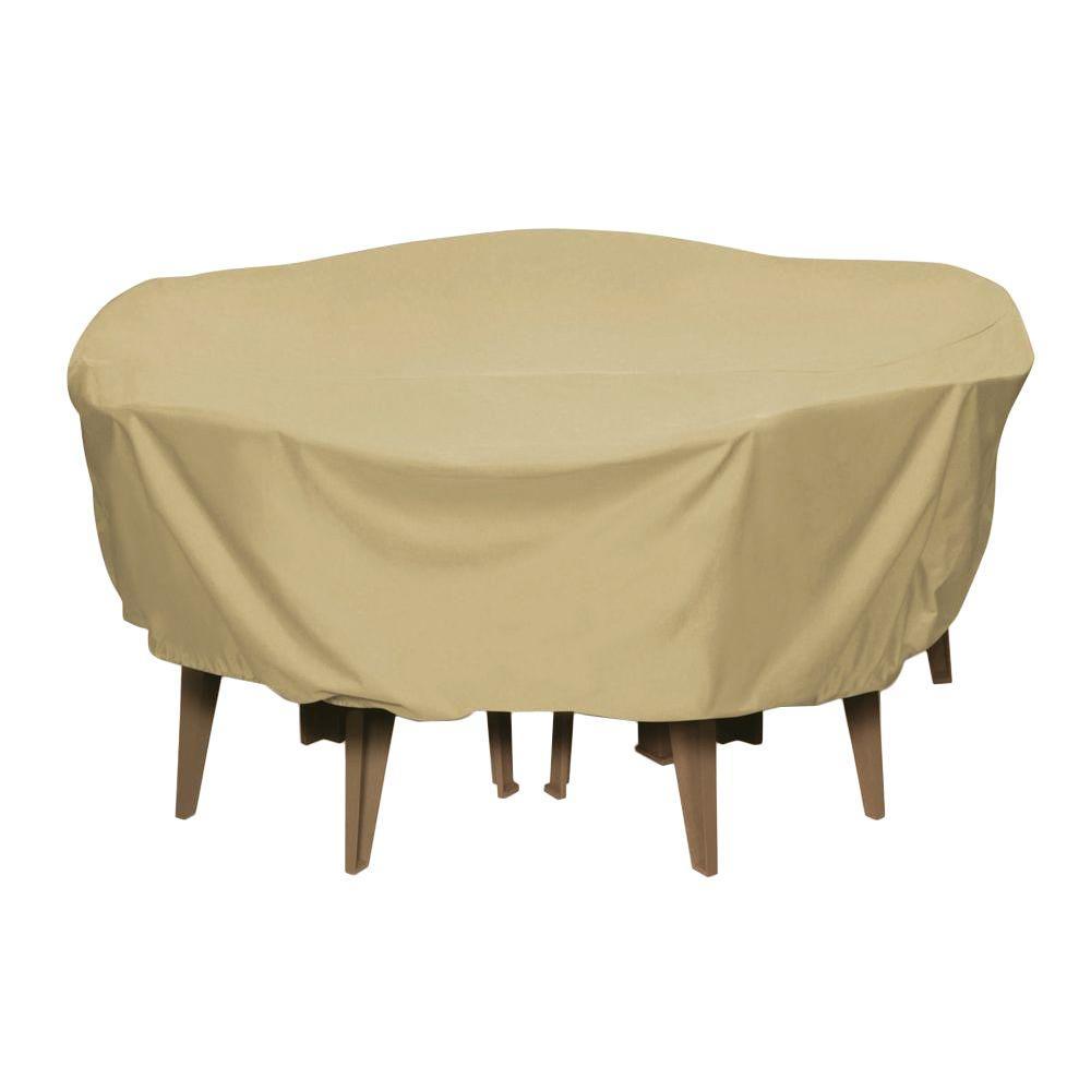 84 in. Khaki Round Patio Table Set Cover