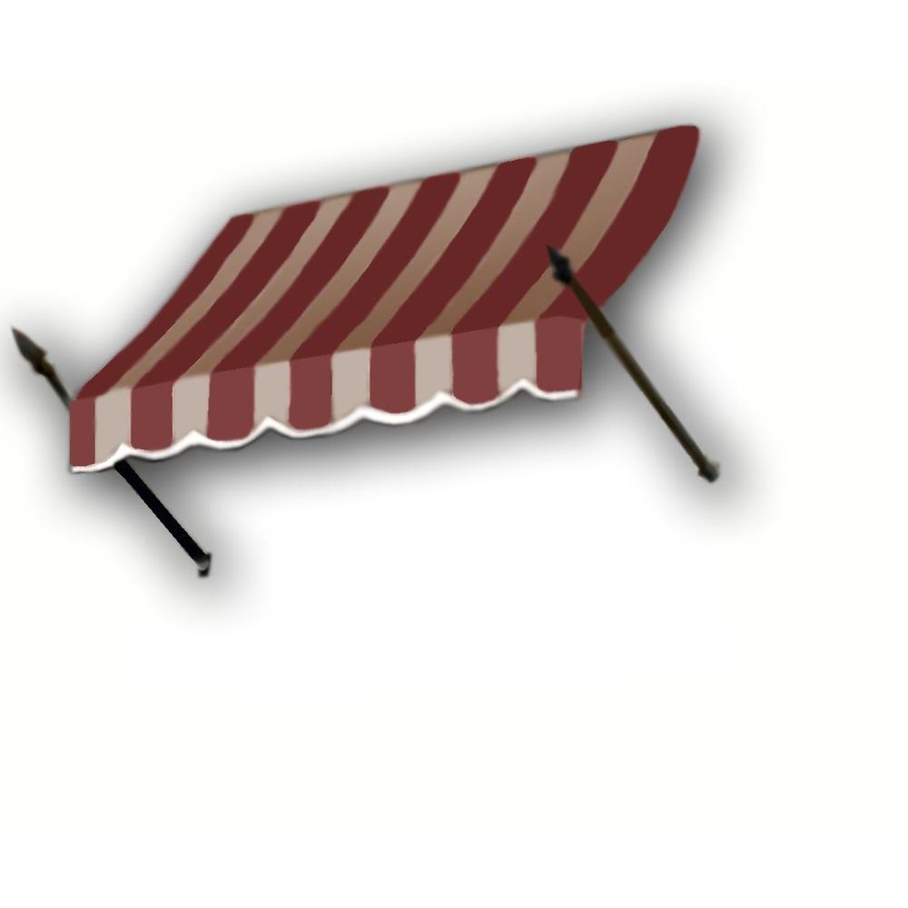 AWNTECH 5 ft. New Orleans Awning (44 in. H x 24 in. D) in Burgundy / Tan Stripe