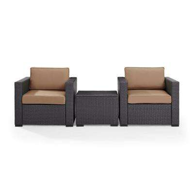 Biscayne 3-Piece Wicker Patio Outdoor Seating Set with Mocha Cushions