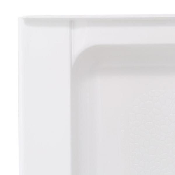 Swan 34 In X 48 In Solid Surface Single Threshold Center Drain Shower Pan In White Sf03448md 010 The Home Depot