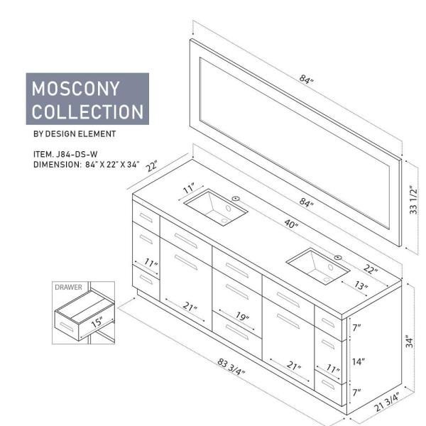 Design Element Moscony 84 In W X 22 In D Double Vanity In White With Quartz Stone Vanity Top And Mirror J84 Ds W The Home Depot