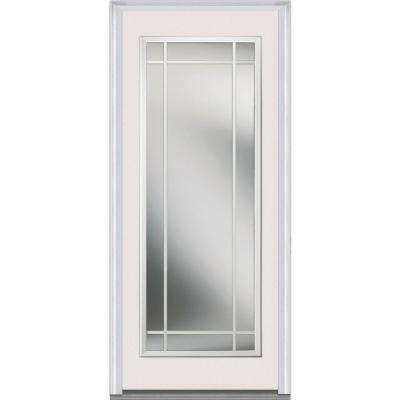 32 in. x 80 in. Internal Grilles Left-Hand Inswing Full Lite Clear Painted Fiberglass Smooth Prehung Front Door