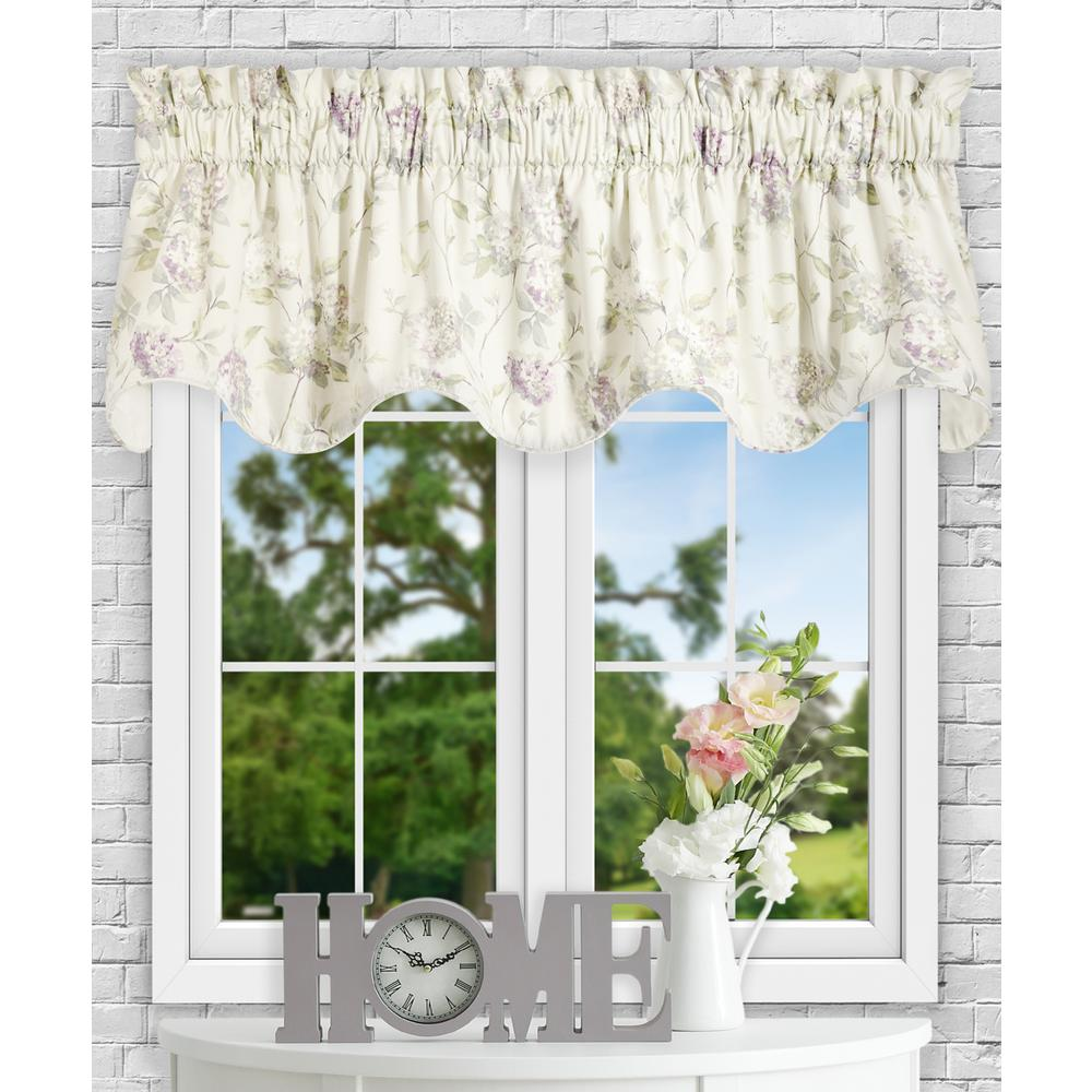 Ellis Curtain Abigail 17 in L Polyester/Cotton Lined Scallop Valance in Lilac