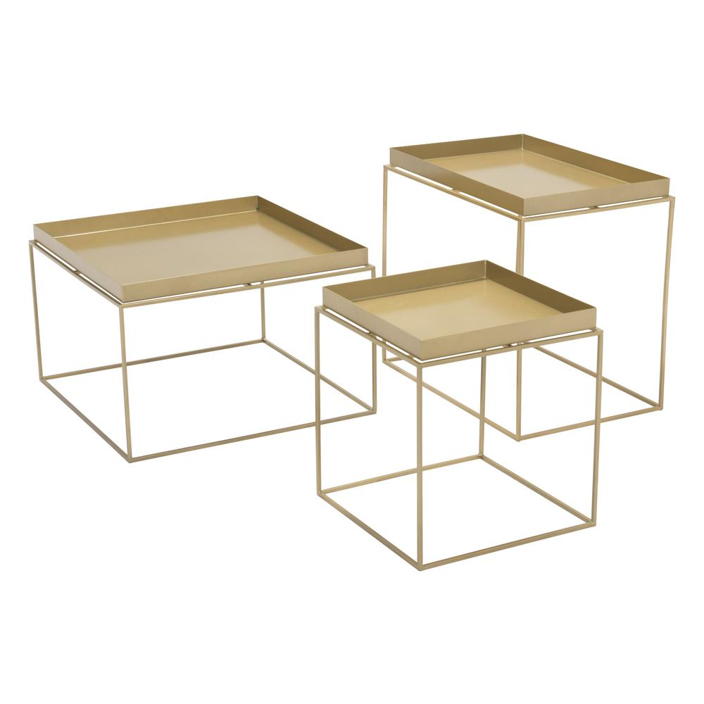 ZUO Gaia Gold Metal Outdoor Side Table