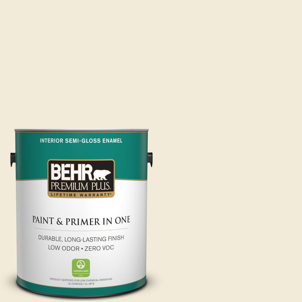 BEHR Premium Plus 1-gal. #PWN-32 Bleached Almond Zero VOC Semi-Gloss Enamel Interior Paint