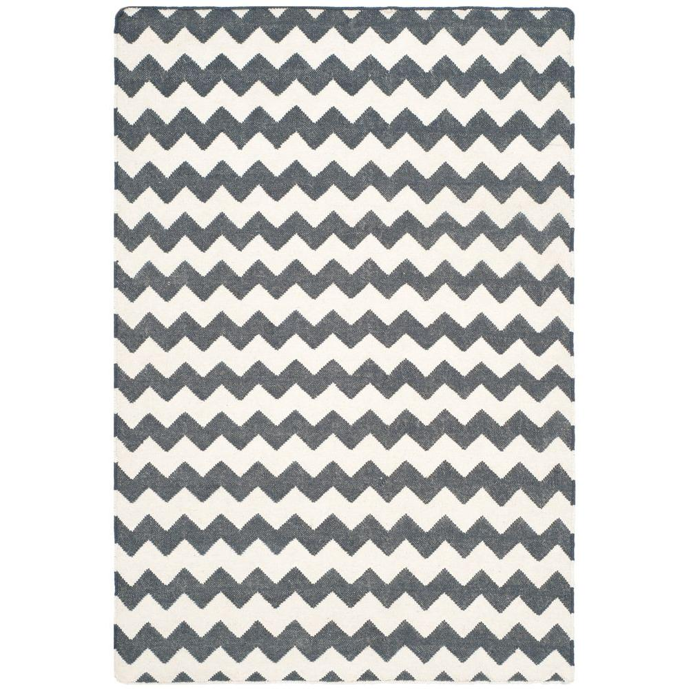 Dhurries Ivory/Charcoal 4 ft. x 6 ft. Area Rug