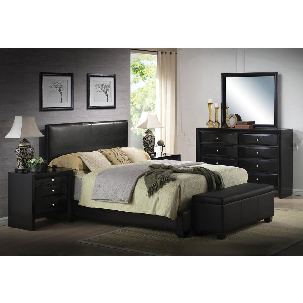 Acme Furniture Ireland Black Queen Upholstered Bed 14340q The Home Depot
