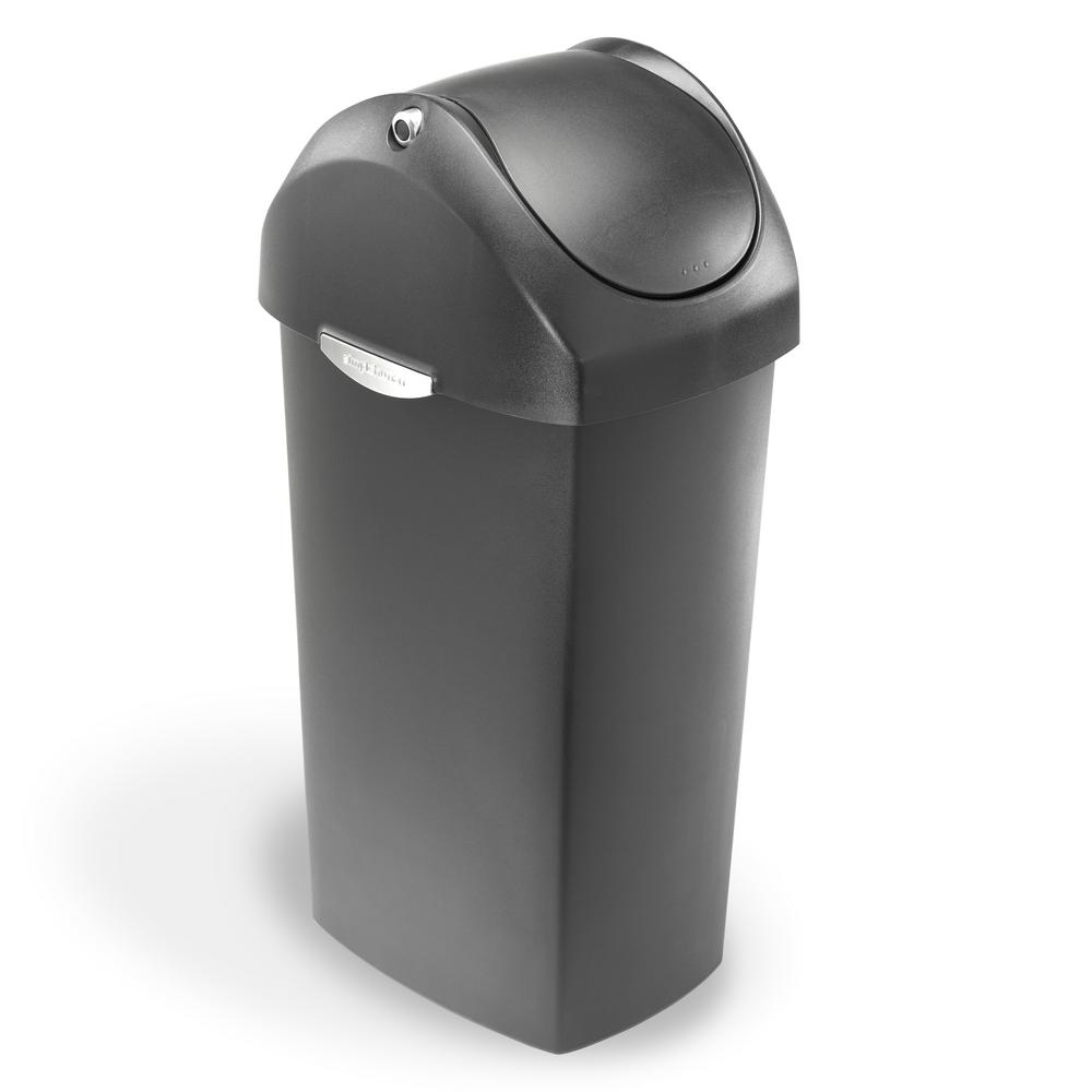 60liter grey plastic swing top trash can