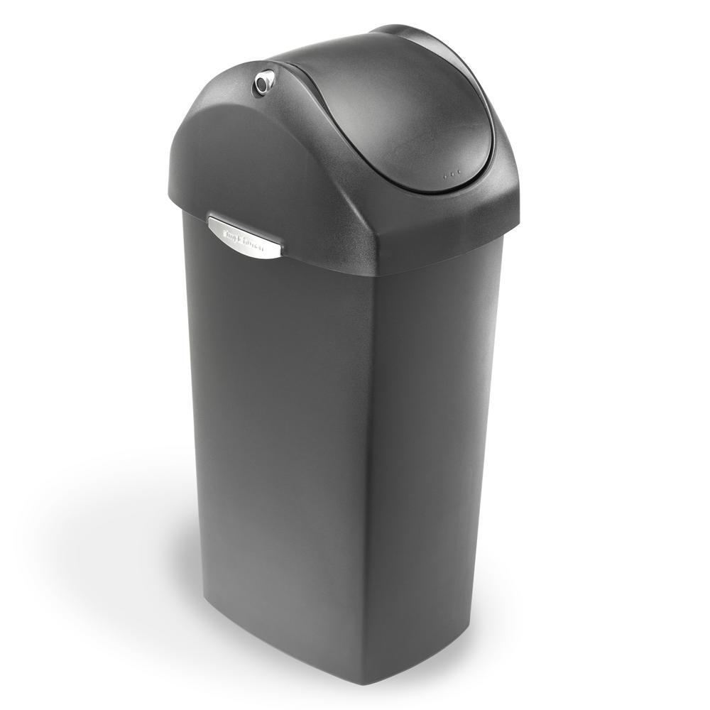 60-Liter Grey Plastic Swing Top Trash Can