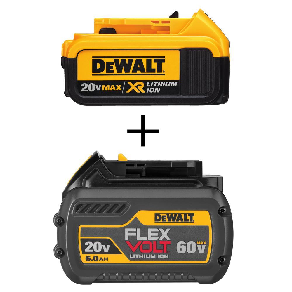 20-Volt MAX XR Lithium-Ion Premium Battery Pack 4.0Ah and FLEXVOLT 20-Volt/60-Volt MAX Lithium-Ion Battery Pack