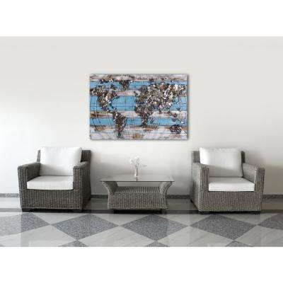 """31 in. x 47 in. """"One World"""" Metal on Wood Wall Art"""