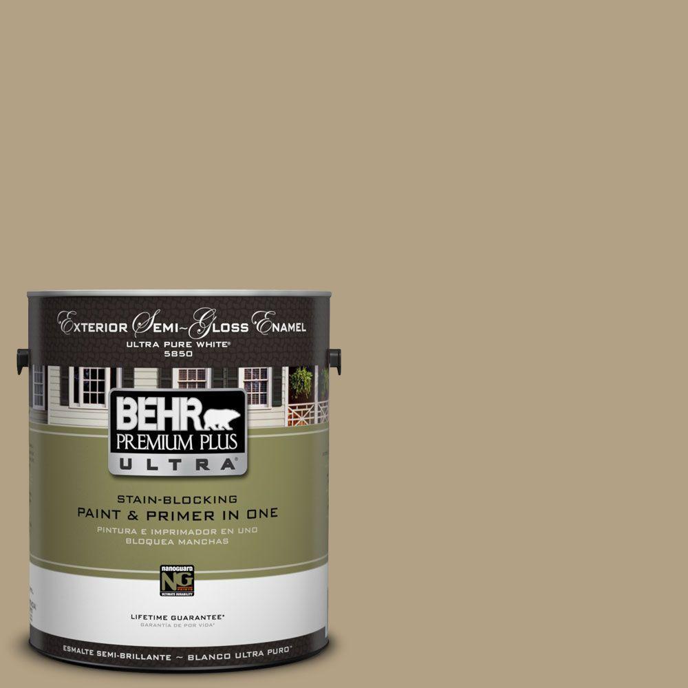 BEHR Premium Plus Ultra 1-Gal. #UL190-18 Chamois Tan Semi-Gloss Enamel Exterior Paint